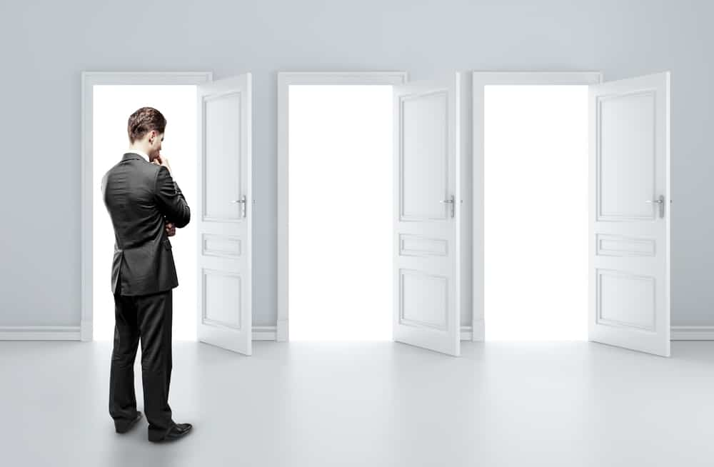 3 doors providing a metaphor for decision making